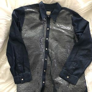 Chico's Denim Sequin Button down sz2 NWOT